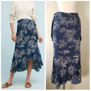Anthropologie Rue Stiic Lea Floral Wrap Skirt